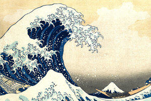 The Great Wave off Kanagawa, by Japanese artist Hokusai. The image depicts an enormous wave threatening boats off the coast of the prefecture of Kanagawa.