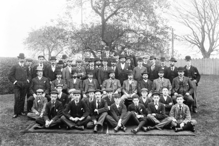 Clerks from the Midland Railway and Great Northern Railway pose for a formal photograph c1900.