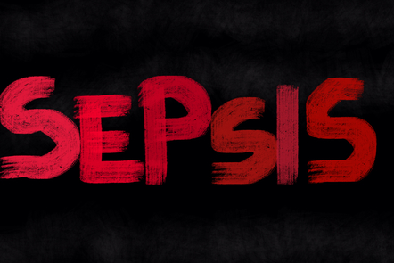 Black background with 'Sepsis' written in red