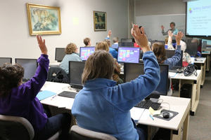 Classroom with mature students who all used computers