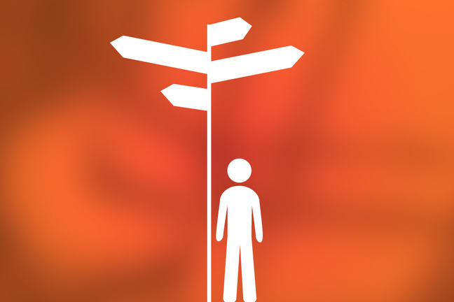 Image of a figure at a crossroads