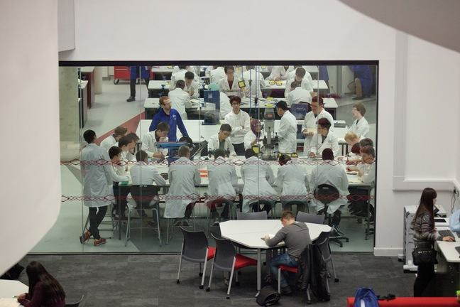 Engineering students in a lab environment at The University of Sheffield