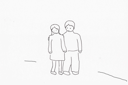 Illustration of someone (a carer) with their arm around a relative.