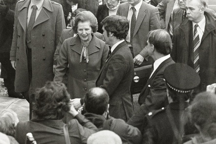 A picture of Margaret Thatcher on a visit to Manchester in the 1980s. She is being introduced to members of the crowd who have gathered to meet her