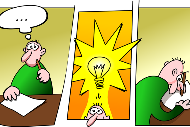 Cartoon in three panels