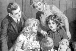 Young girl being consoled by her family