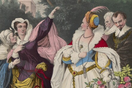 Depiction of Mary Queen of Scots and Elizabeth I