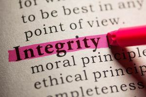 The word 'integrity' highlighted on a page to symbolise academic integrity