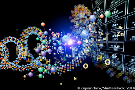 Atomic symbols and molecules floating in front of an image of the periodic table