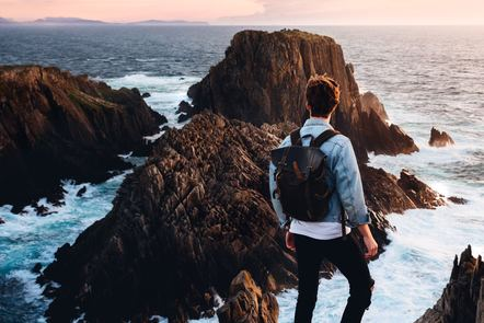 Man standing at the Ocean, Ireland