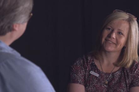 Sarah Housden in conversation with an Admiral Nurse