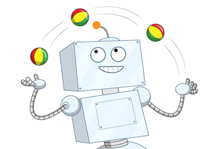 A cartoon illustration of a robot juggling