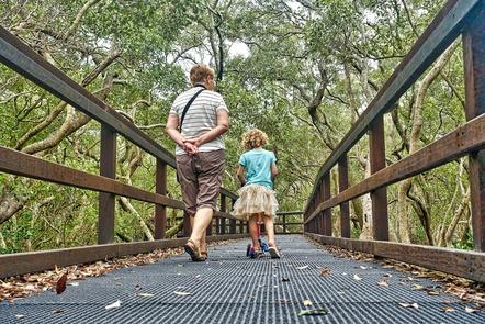 adult and child walking across bridge