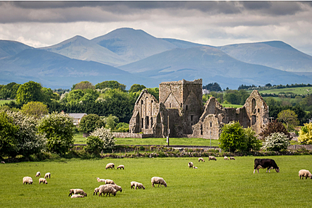 Idyllic Irish landscape. An old ruin with mountains in the background.