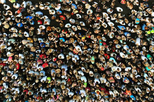Aerial photo of a crowd of people.