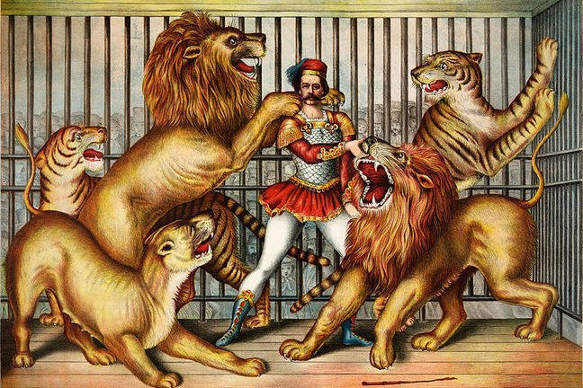 Old print of a lion tamer