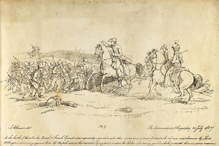 Pen sketch of the Duke of Wellington at the Battle of Waterloo, drawn by J Atkinson