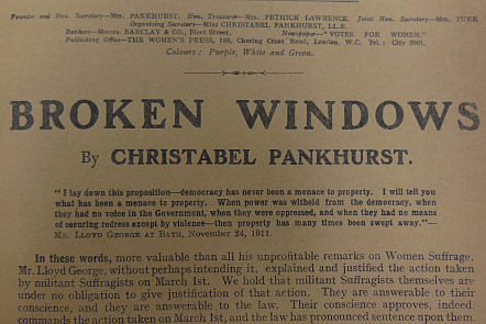 'Broken Windows' - headline to article by Christabel Pankhurst