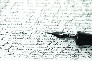 Image showing ink handwriting and fountain pen