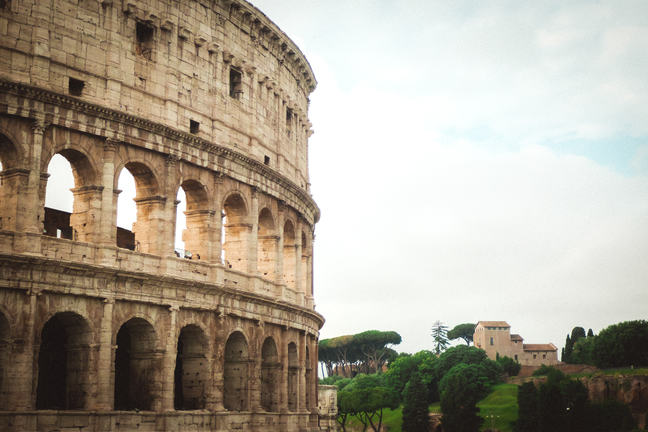 Side of the Colosseum showing the detail in the arcades