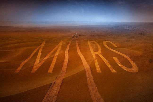 Red dusty space landscape with vehicle tracks forming the word Mars