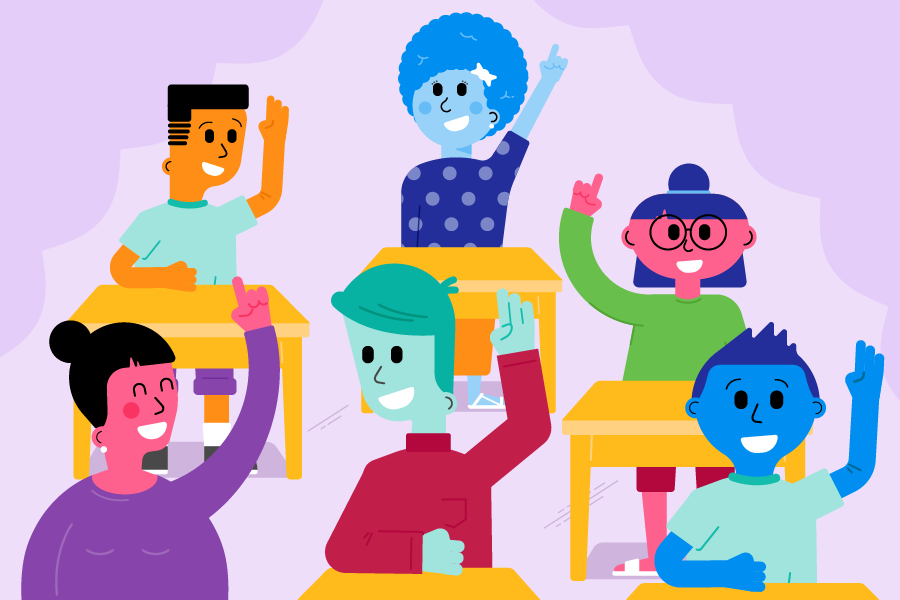 An illustration of a classroom of students with their hands in the air
