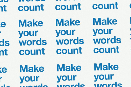 poster repeating the phrase 'make your words count'