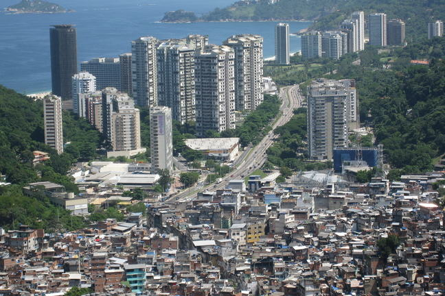 Favela and skyscrapers in Brazil