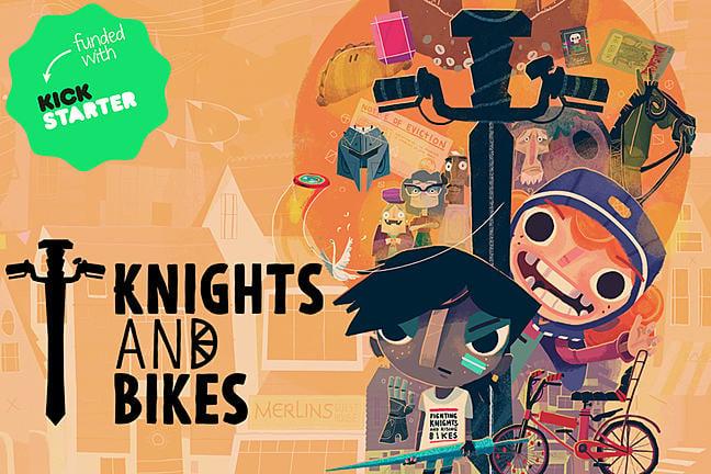 Knights and Bikes logo with Kickstarter logo
