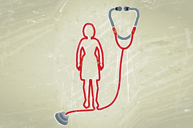 A stylised cartoon of a stethoscope with it's lead forming the shape of a woman. Illustration.