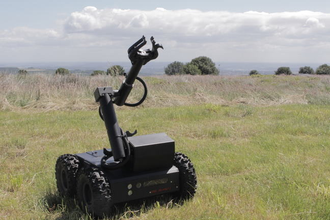A tank-like robot in a field