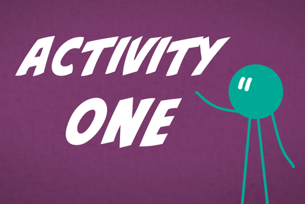 A cartoon icon of a person with 'Activity 1' written in the centre.