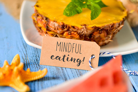 Food with 'mindful eating' place card.