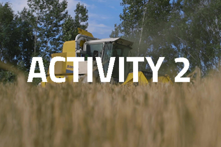 Harvesting machinery with crops in the foreground. 'Activity 2' written over the top.
