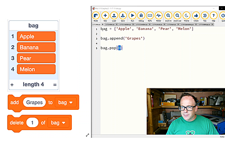 A screenshot of one of the course videos demonstrating a comparison of syntax comparing lists in Scratch and Python