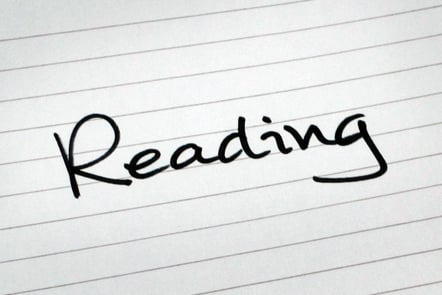 A page with the word 'Reading' written down.