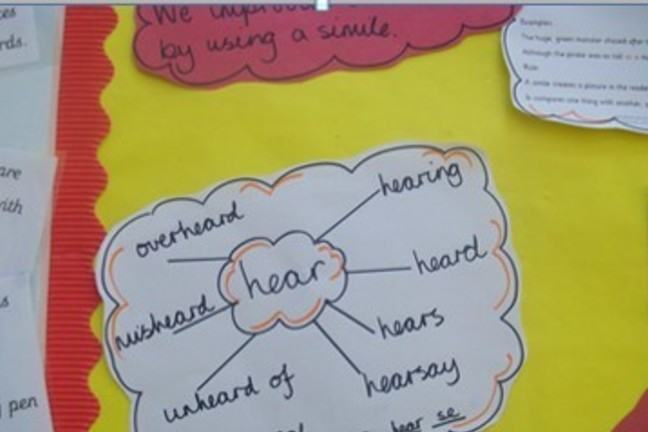 Speech bubble with the centre word 'hear' and yellow and red background