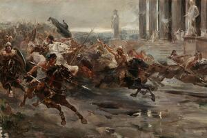 A painting of barbarians on horseback fleeing a city