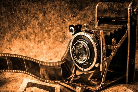 old fashioned camera and film