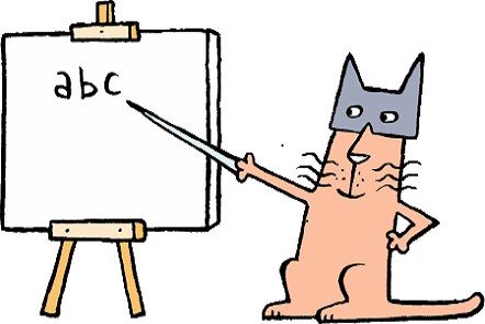 Illustration of a cat with mask pointing to a whiteboard. Text on whiteboard a b c