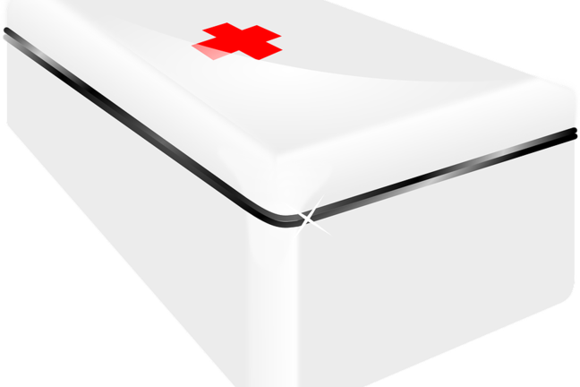 White box with a red cross on top
