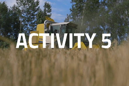 Harvesting machinery with crops in the foreground. 'Activity 5' written over the top.