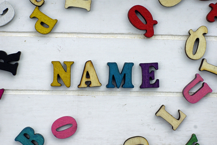 Cutout letters spelling the word Names