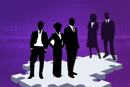 Illustration of silhouetted figures standing