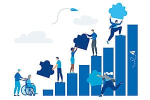 Cartoon of people on a blue graph handing jigsaw pieces between each other with a wheelchair user at the bottom of the graph on the left hand side.
