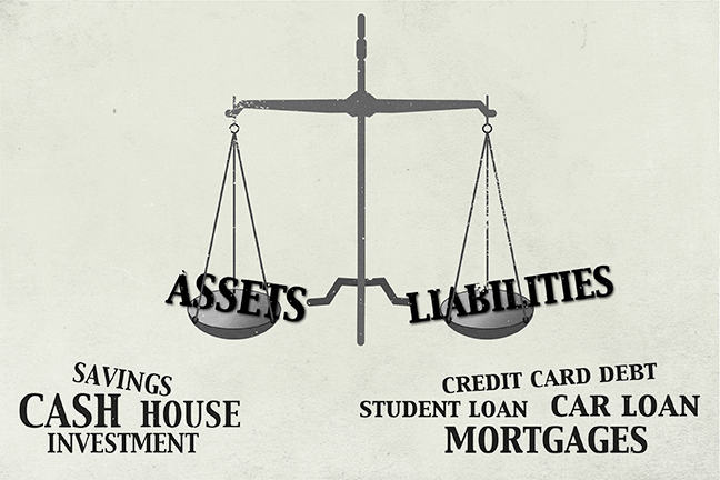 The image is a set of scales. In one tray there are household assets and in the other tray there are household liabilities. The types of household asset (e.g. house) and liabilities (e.g. car loan) are listed underneath the scales.