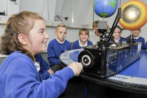 Teaching Primary Science: a child looks at a model of Earth and the wider Solar System