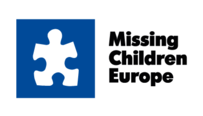 White jigsaw piece on a blue background with the text Missing Children Europe