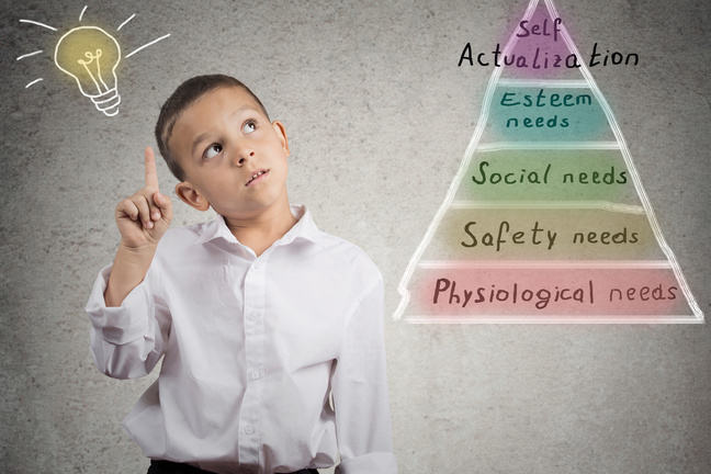 Young boy next to a pyramid showing Maslow's Hierarchy of Needs with a lightbulb above his head.