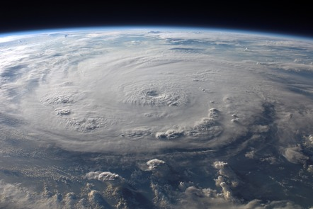 The eye of a hurricane, as seen from space.